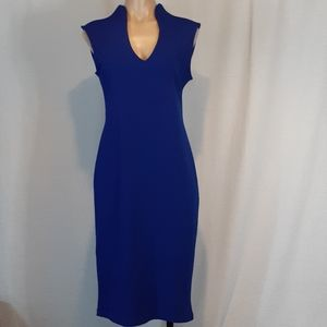 Almost Famous sheath dress deep V neck cobalt blue